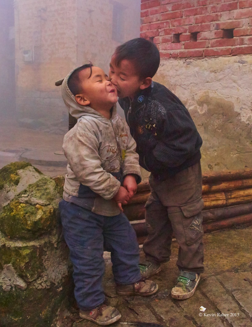 Two Happy Boys, Village in Hani, China
