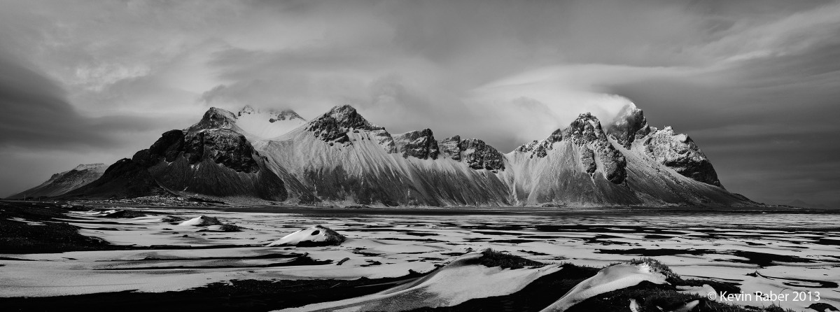 Stokksnes area on a windy and dramatic day
