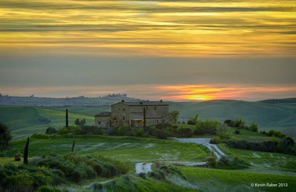 Sunset With Houses. Tuscany, Italy
