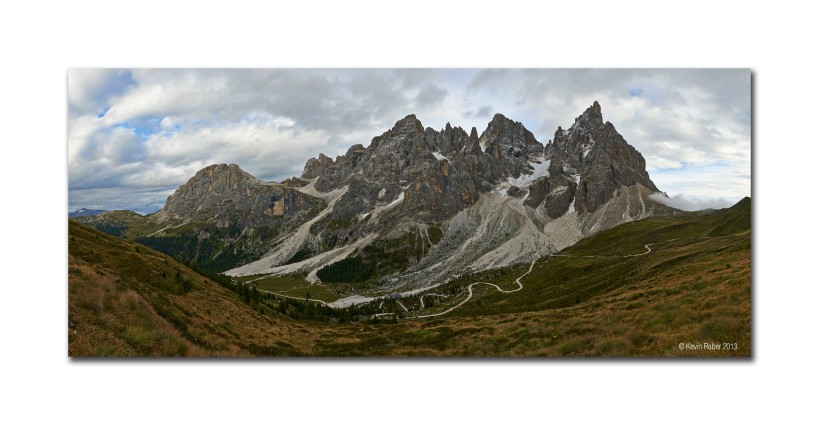 A fifty image stitch pano of one of the majestic Dolomite Mountains