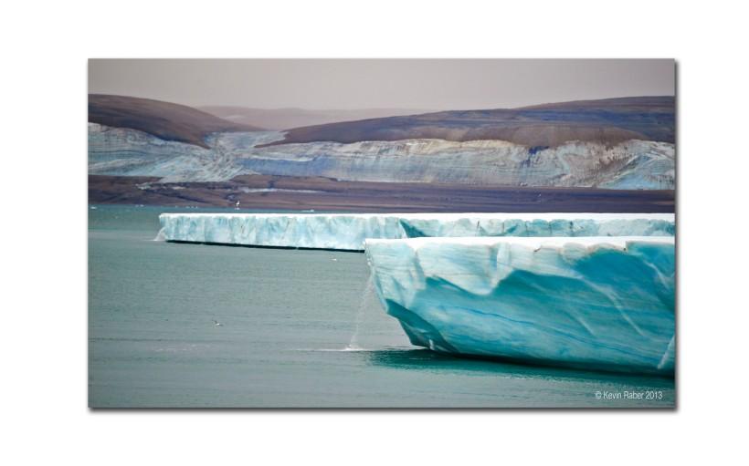 Glacier and Waterfalls, Svalbard, Norway