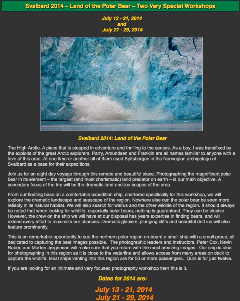 Luminous-Landscape.com Workshops To Svalbard