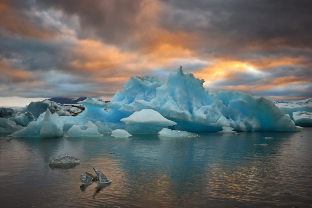 Sunrise At The Iceberg Lagoon, Iceland