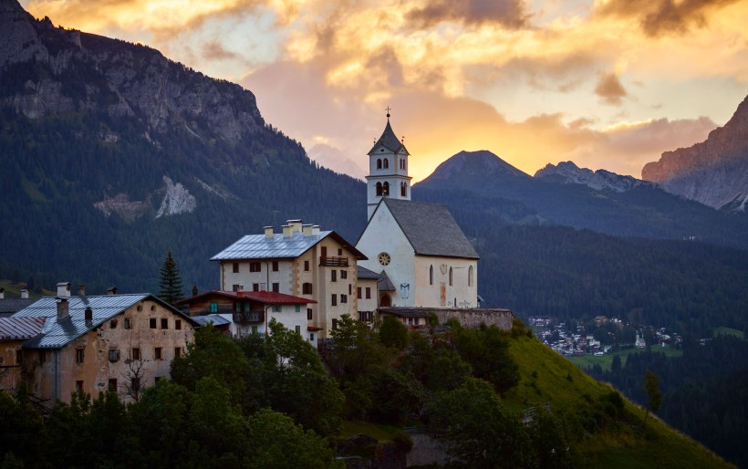 Church On A Hill, Dolomites, Italy