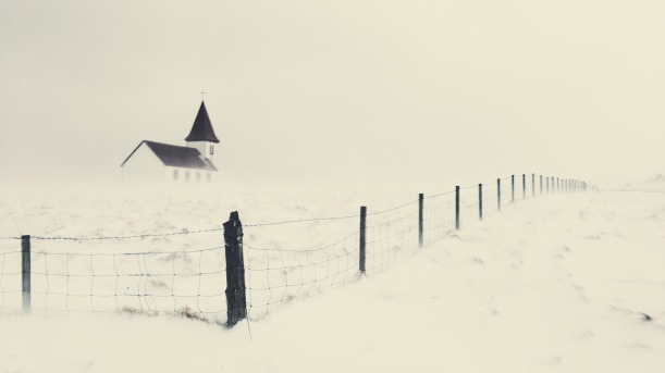 Church in a blizzard